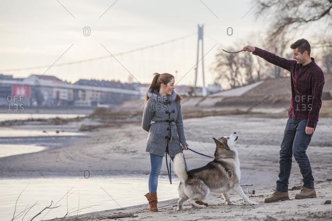 Couple with Dog Outdoors, Croatia