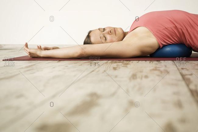 Woman Doing Pilates, Eyes Closed, Munich, Bavaria, Germany, Europe