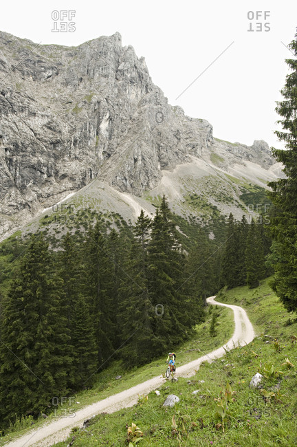Mountain Biker On The Move, Schattwald, Bavaria, Germany