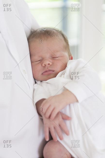 Newborn baby sleeping peacefully