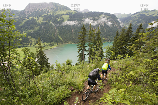 Two Mountain Bikers, Schattwald, Bavaria, Germany