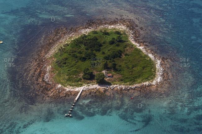 Small island in the Mediterranean Sea, Istria, Croatia