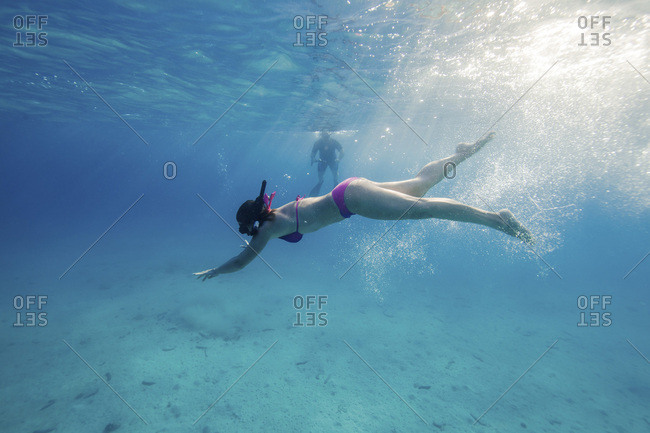 Woman Diving in Adriatic Sea, Dalmatia, Croatia