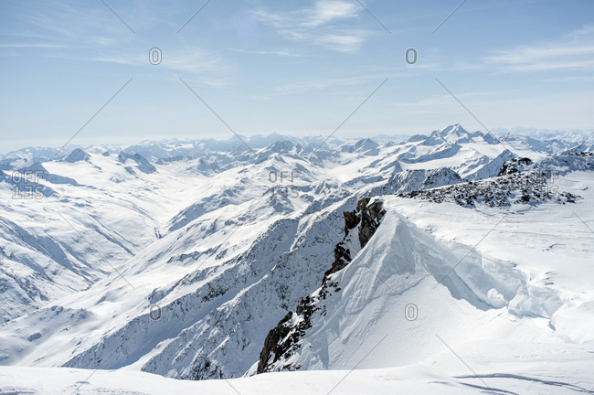 Mountain range, snowcapped, European Alps, Tyrol, Austria