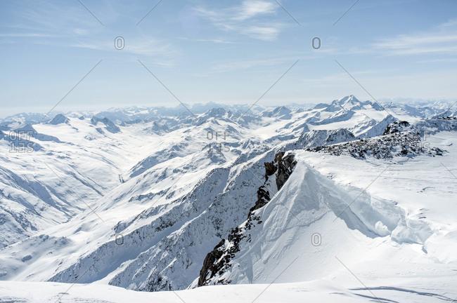 Mountain range, snowcapped, European Alps, Tyrol, Austria