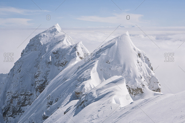 Mountain range, snowcapped mountain top, Zugspitze, Bavaria, Germany
