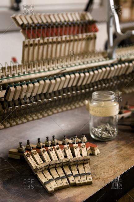 Musical mechanism of a piano, Regensburg, Bavaria, Germany