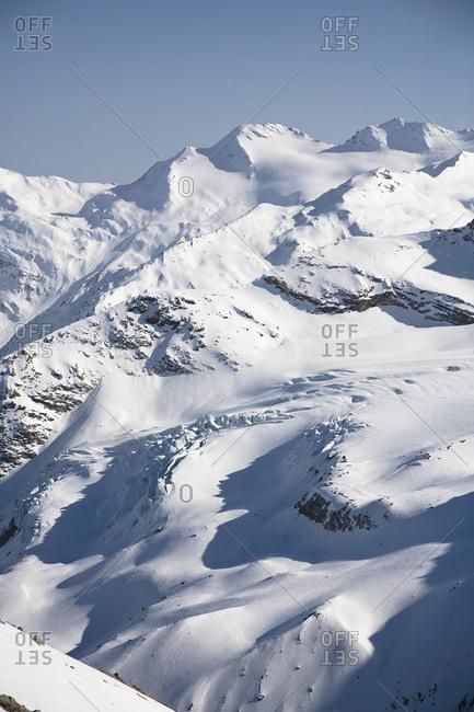 Mountain scenery, Mt Strahlhorn and Britannia Huette, Saas Fee, Valais, Switzerland