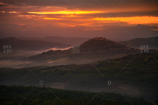 Sunset over hilly landscape, Istria, Croatia