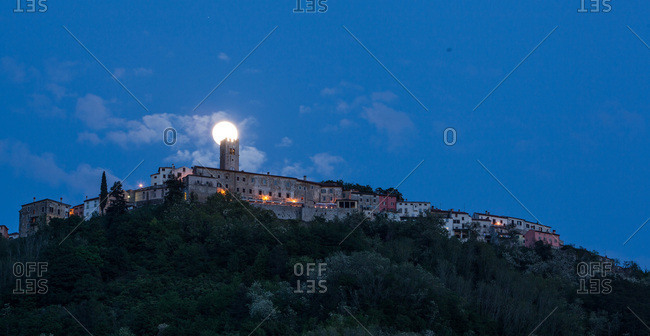 Motovun city with full moon, Istria, Croatia
