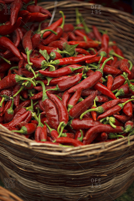 Red Chilis In Basket, Baranja, Croatia, Europe