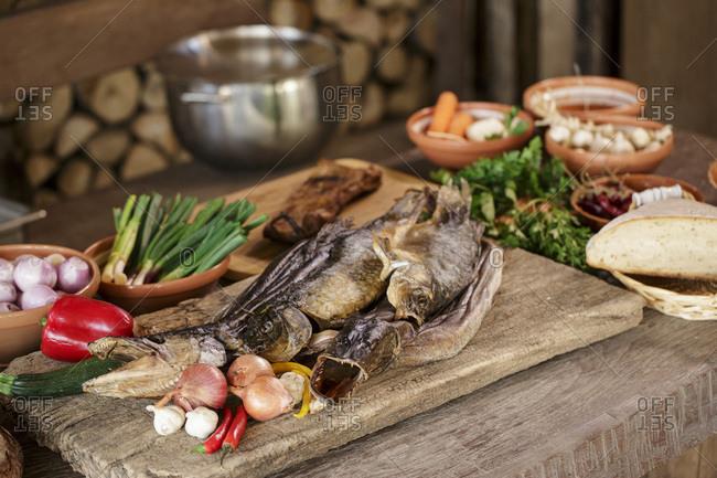 Smoked Pike alongside variety of ingredients