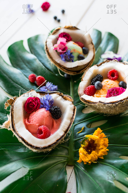 Coconut bowls with sherbet and fruit on tropical leaf