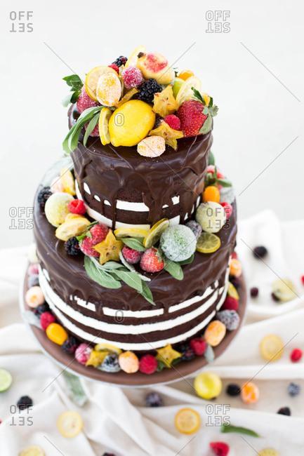 Chocolate drip cake with fruit