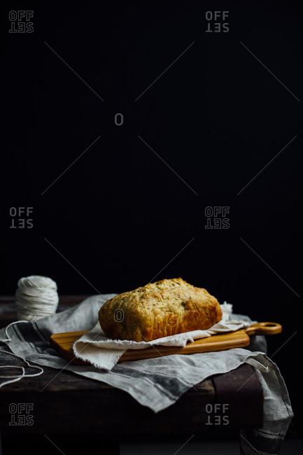 Homemade bread on wooden board