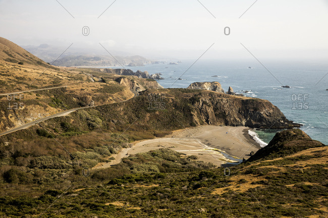 Scenic view of coastline near Jenner, California