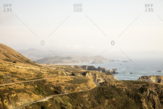 Scenic view of the Pacific Coast Highway near Jenner, California