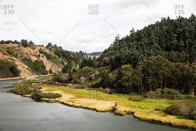 Scenic view of the Navarro River Estuary and forest along the Northern California Coast