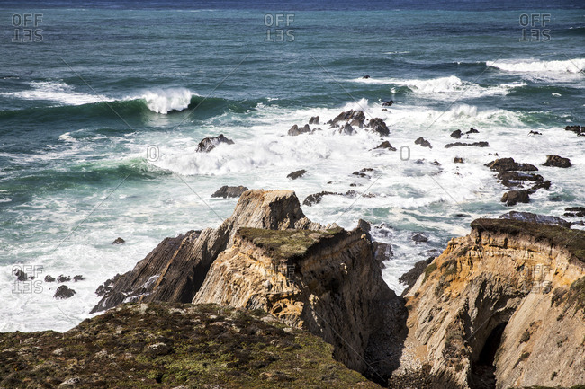 Surf smashing into the rocky coastline at Point Arena on the Northern California Coast