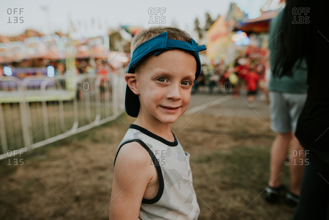 Happy boy at a festival