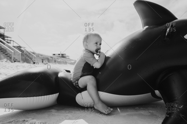 Baby boy sitting in an inflatable whale on a beach in black and white