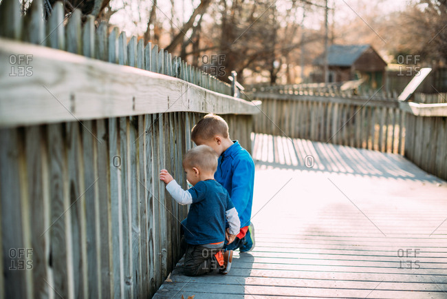 Two boys looking through wooden railing