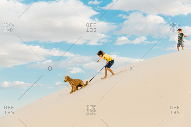 Kids and dog playing on hills at White Sands National Monument