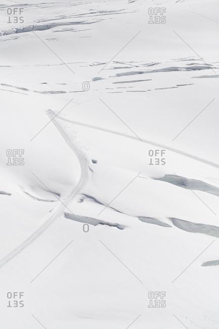 Tracks in the snow on Jungfraujoch in Switzerland