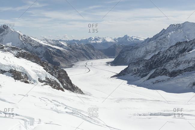 Snow-covered Aletsch Glacier in Switzerland