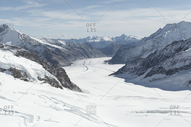 Snow-covered Aletsch Glacier in Switzerland