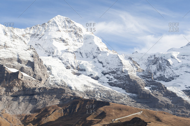 Snow-covered Jungfraujoch saddle in the Bernese Alps, Switzerland