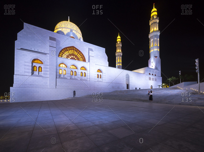 Oman- Muscat- Mohammed Al Ameen Mosque at night