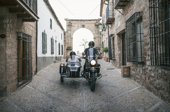 Spain- mature couple on a trip with motorcycle with a sidecar