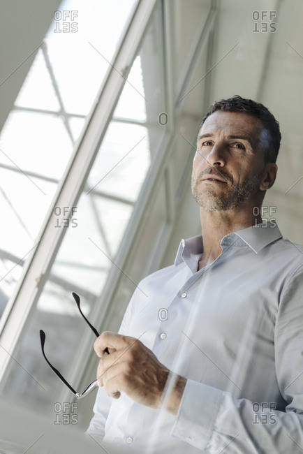 Businessman holding glasses standing at the window