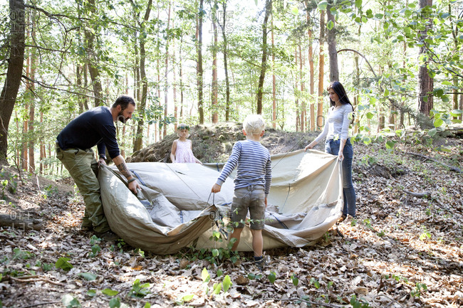 Family in forest building up tent together
