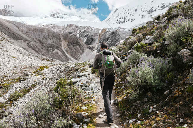 Peru- Huaraz- Huascaran National Park- man on a trek