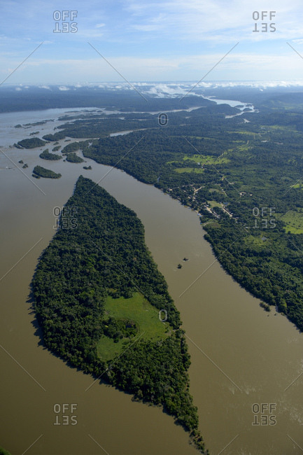 Brazil- Para- Itaituba- Amazon rainforest- Rio Tabajos- Fishing village Pimental