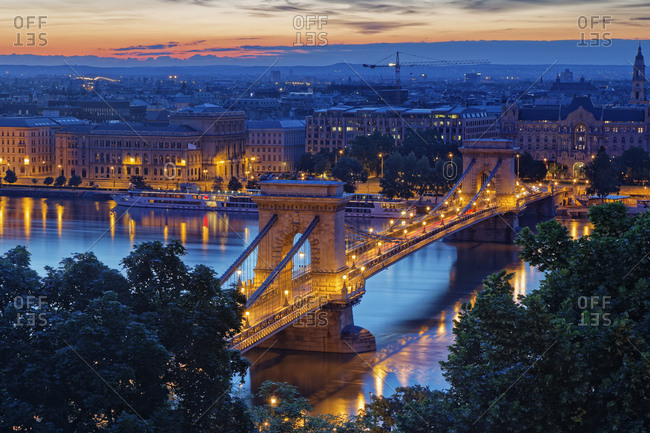 Hungary- Budapest- View to Pest with Chain bridge and Danube river in the evening