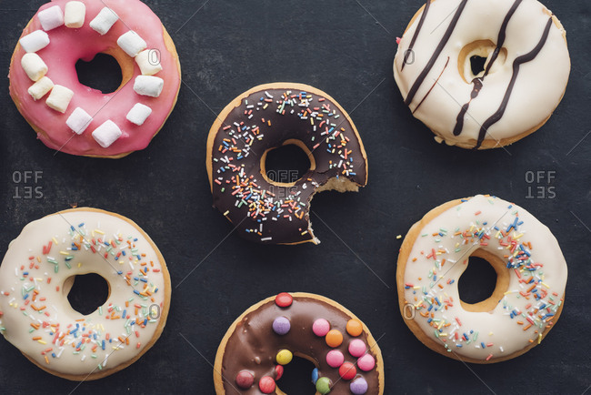 Colorful doughnuts with different icings