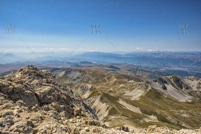 Italy- Abruzzo- Gran Sasso e Monti della Laga National Park- panorama seen from summit of Corno Grande