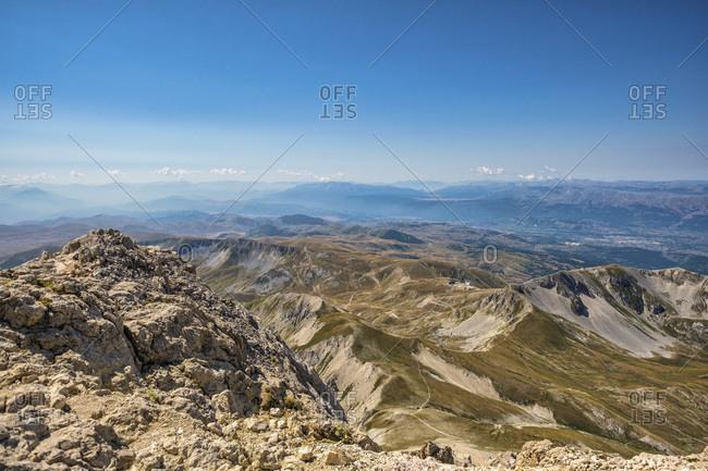 Italy- Abruzzo- Gran Sasso e Monti della Laga National Park- panorama seen from summit of Corno Grande