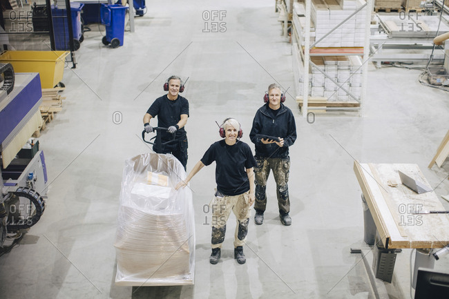 High angle portrait of workers standing with pallet jack at industry