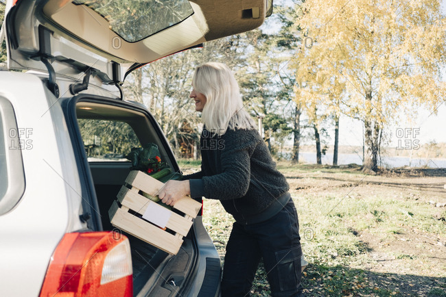 Side view of mature woman loading crate full of organic vegetables in car trunk