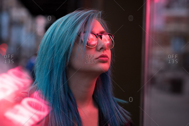 Close-up of stylish woman in sunglasses