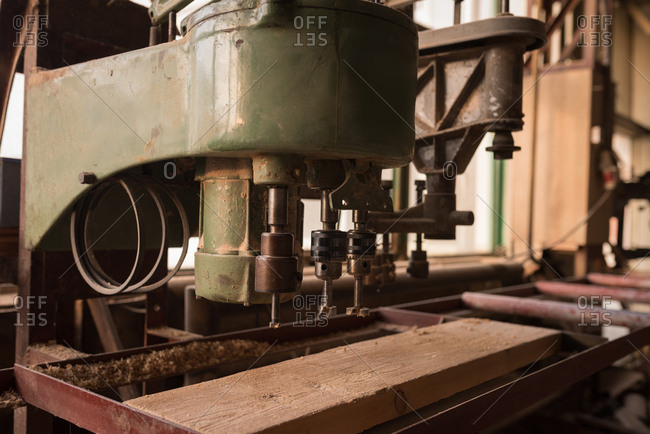 Vintage machine in carpenter workshop