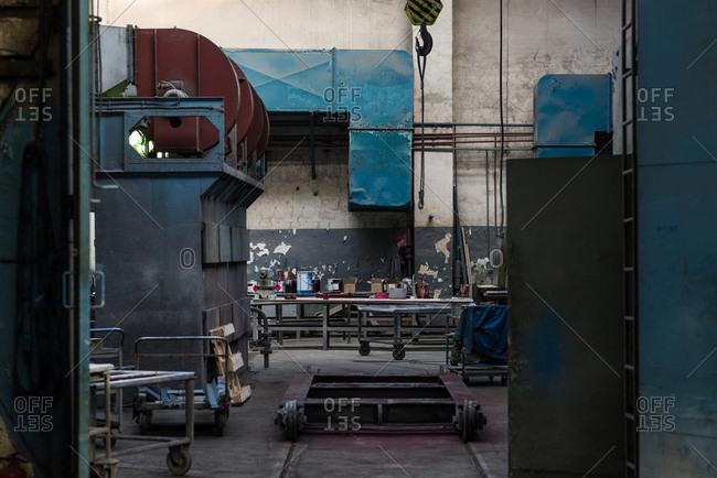 Empty trolley in metal industry