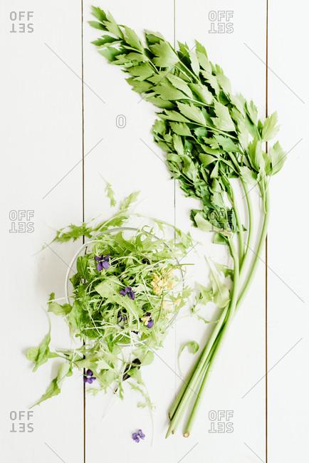 Mixed greens and fresh parsley