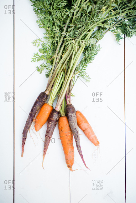Fresh purple and orange carrots