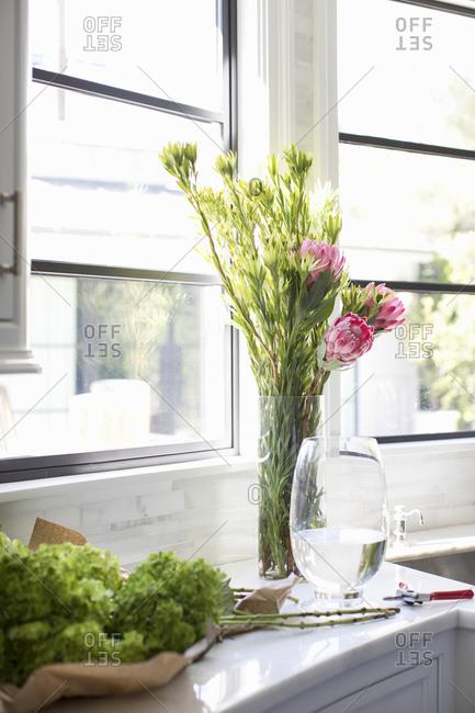 Fresh cut flowers getting sunlight at counter window