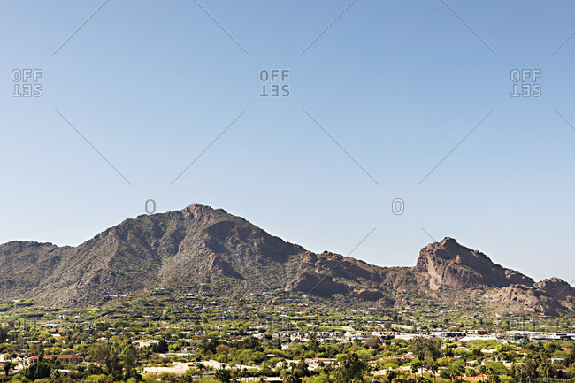 Panned view of mountain town